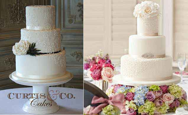 Lace veil wedding cakes by Curtis & Co left, Cake Maison for Wedding Magazine right