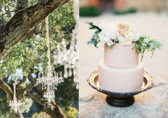 bohemian wedding cake image by Taylor Lord Photography, outdoor chandelier, Carlie Statsky Photography