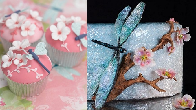 dragonfly cupcakes by The Cake Parlour left, Lisa Berczel dragonflies and cherry blossoms right