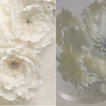 jewelled sugar flowers by Bellissimo Cakes left, by Sweet Cakes by Rebecca Custom Dessert Shoppe right