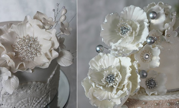 jewelled sugar flowers by Cakes & Biscuits by Lisa left, Make Me My Cake right