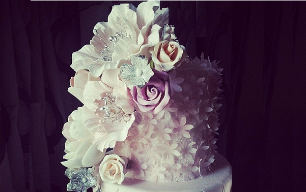 jewelled sugar flowers by Little Miss Cupcakes with wafer paper blossoms