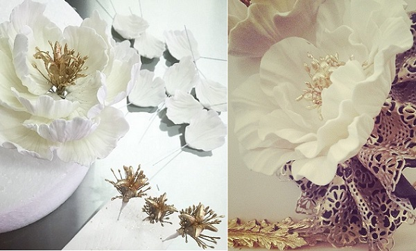 jewelled sugar flowers by The Caketress left, Little Miss Cupcakes Dubai, right
