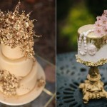 jewelled sugar flowers via Colin Cowie Weddings left, by Cakes in Art right