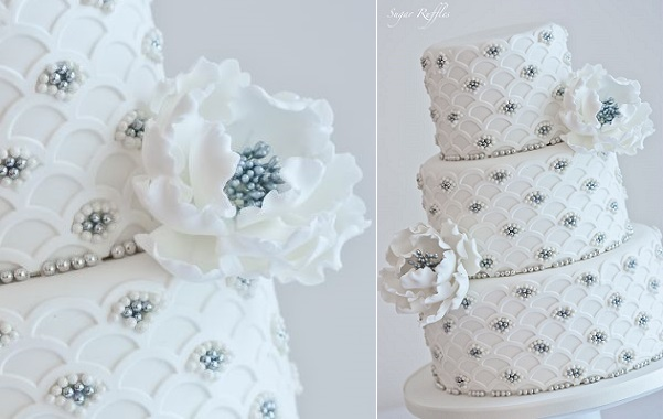 jewelled wedding cake with silver centred peonies by Sugar Ruffles art deco scallop design