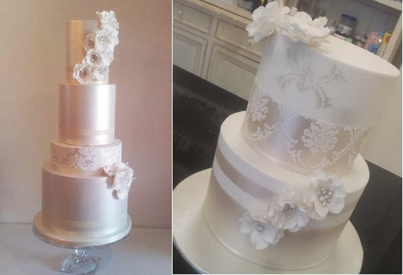 sugar flowers with jewelled centres wedding cakes by Call Me Cake Face