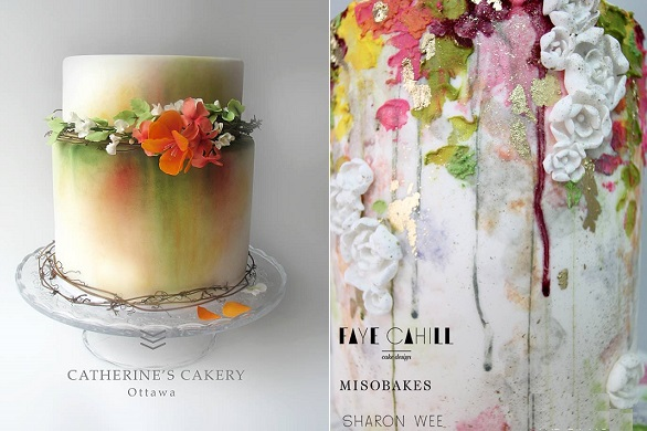 watercolour cakes by Catherine's Cakery left, by Faye Cahill, Miso Bakes & Sharon Wee right