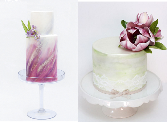 watercolour cakes by Emma Lee Cake Design, Life Stories Photography left, Sharon Wee right