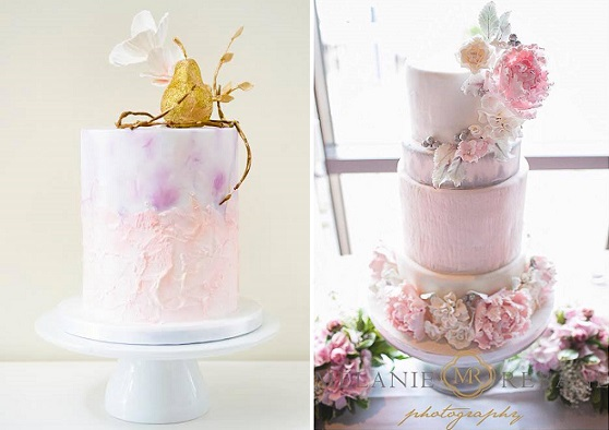 watercolour cakes by The Cake Whisperer left, Sophie Bifield right, Melanie Rebane Photography