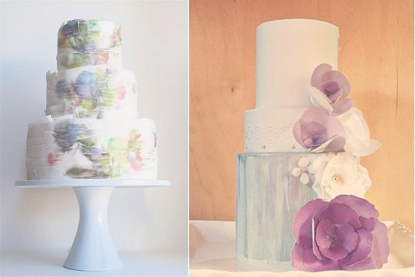 watercolour wedding cakes by Maggie Austin left, Hey There Cupcakes, right