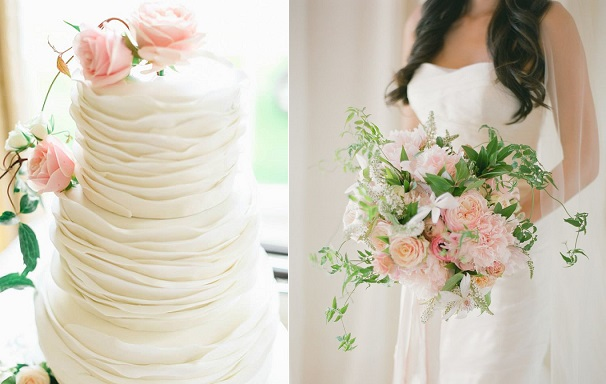 wedding cake for the boho bride by Zoe's Fancy Cakes, loose organic bouquet right, KT Merry Photography