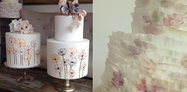 wedding cakes in watercolours by Mignon Daymond and Merryn Holder left, Nana e Cakes right
