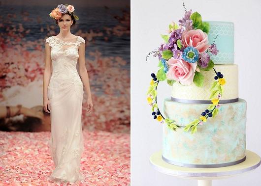 floral garland wedding cake boho style by Sugar Boy Ed, boho bridal gown by Claire Pettibone