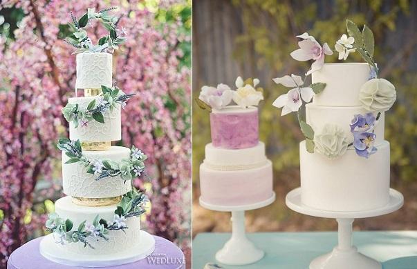 garland wedding cakes boho style via Anna Elizabeth Cakes left Vasia Weddings Photography via Wedluxe left, by Studio Cake right