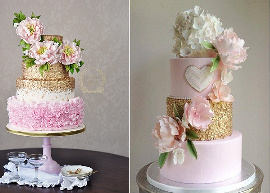 Gold and blush wedding cakes with gold sequins by The Juniper Cakery left, The Cake Whisperer right