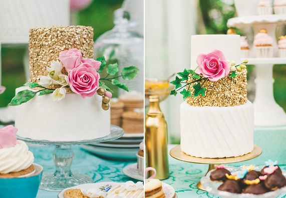 gold sequinned wedding cakes with roses by Sockerrus  Fotagraph Satu via HWTM