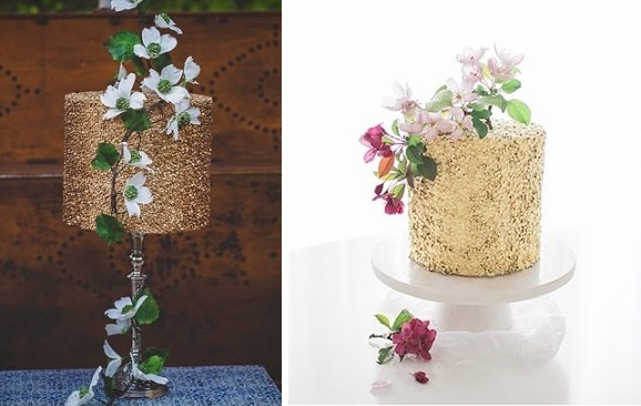gold sequins cakes by Baked In, Caked Out, Bhavna Barrett Photography left, Jenna Rae cakes, Brittany Mahmood Photography right