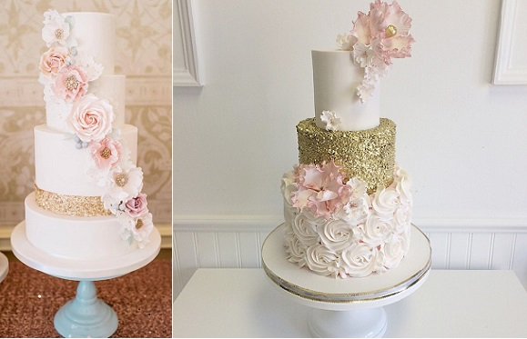 gold sequins wedding cakes from Cotton and Crumbs, Daffodil Waves Photography left, by Jenna Rae Cakes right