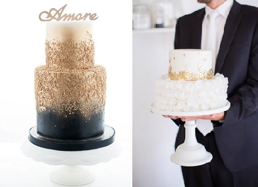 gold sequins wedding cakes