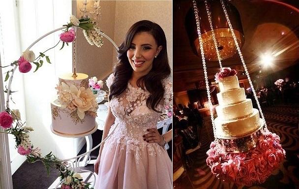 hanging cake design by Faye Cahill left, suspended wedding caker right via Premier Bride Jacksonville