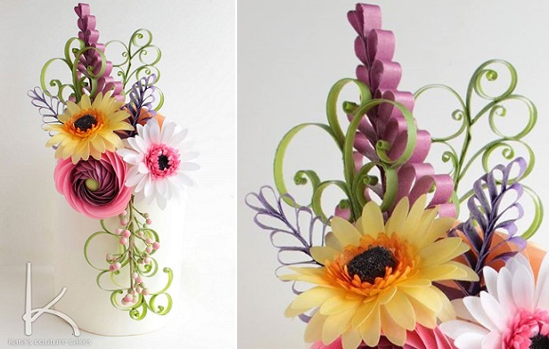 quilled wafer paper flowers by Kara's Couture Cakes