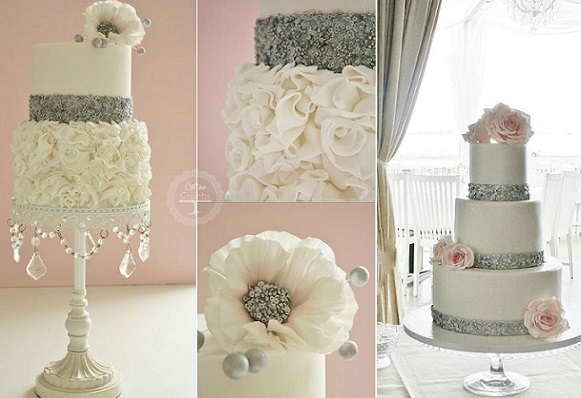 silver edible sequins cakes by Cotton and Crumbs left and centre and by Sanna's Tartor right