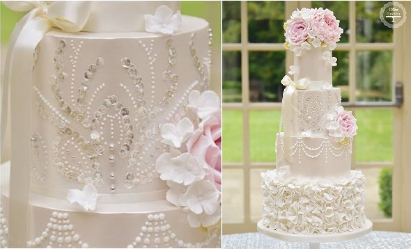 silver sequinned wedding cake by Cotton and Crumbs with rice paper and silver leaf sequins
