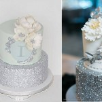silver sequins cakes by Simply Sweet Cakes & Cupcakes left, Anna Elizabeth Cakes, photo by Kunioo via WedLuxe right