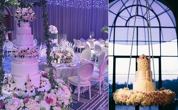 suspended wedding cake by The Caketress left, image right from Cami Jane Photography
