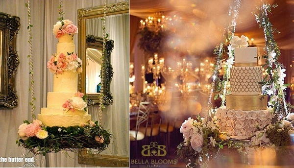 suspended wedding cake by the Butter End Cakery left, image right via Bella Blooms