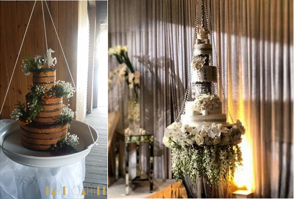 suspended wedding cakes by Faye Cahill left, image right via A Day To Remember Event Planning