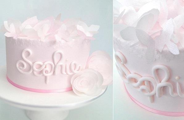 wafer paper butterflies cake by La Petite Pops