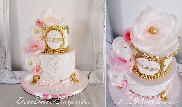 wafer paper flowers and gilded gold cake by Dee's Sweet Surprises