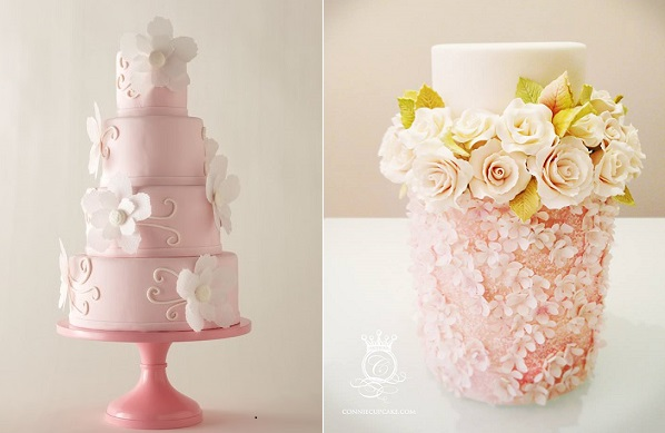 wafer paper flowers cakes by Icing on the Cake, Tulsa left, Connie Cupcake right