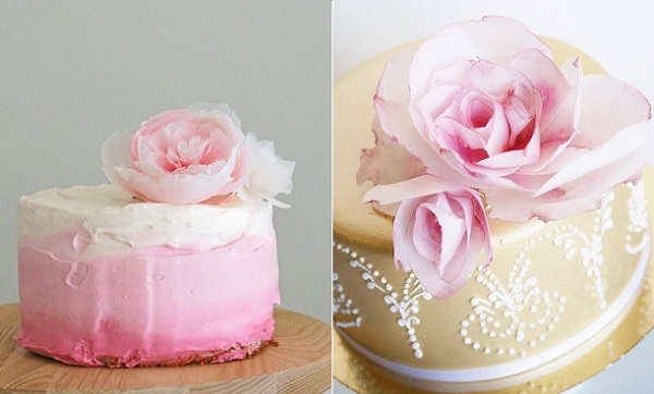 wafer paper flowers via Cakelets & Doiles AU left, Sanna's Tartor right