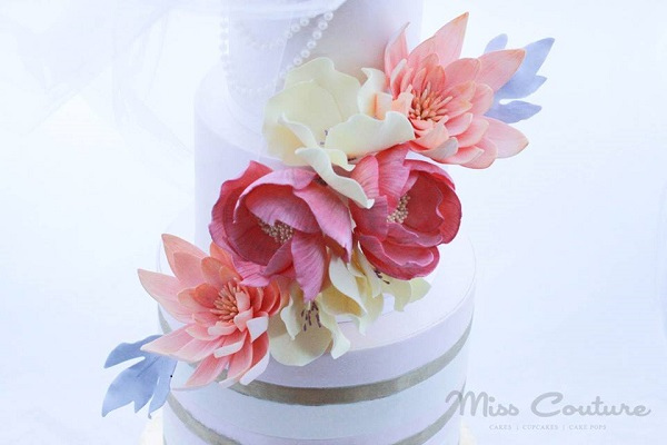 wafer paper flowers wedding cake by Miss Couture