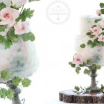 wafer paper frills in watercolours & rambling rose wedding cake by Sweet Love Cake Couture