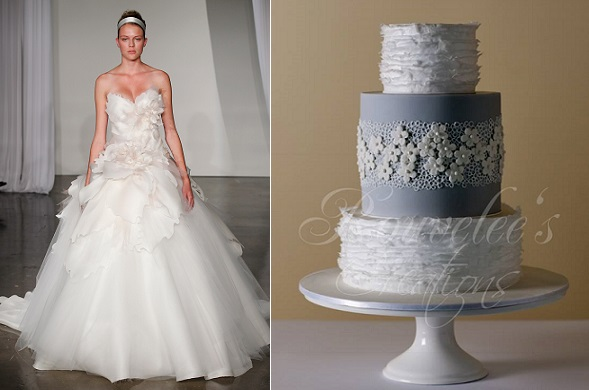 wafer paper frills wedding cake by Rouvelee's Creations right, Marchesa gown left