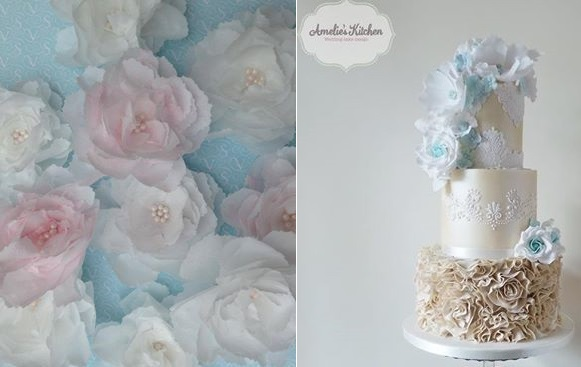 wafer paper peonies by VS Cakes left, Amelie's Cakes right