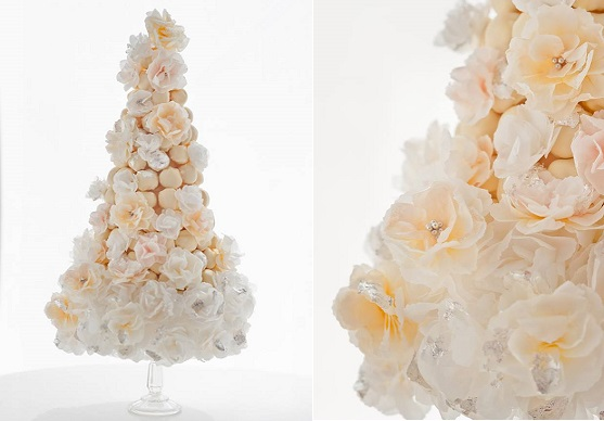 wafer paper peonies croquembouche by Makiko Searle at Squires Kitchen, Anna Rosell Photo