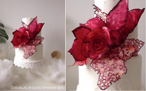 wafer paper rose and lace by DolceLulu
