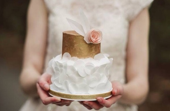 wafer paper ruffles wedding cake by Sweet On You Designer Cups and