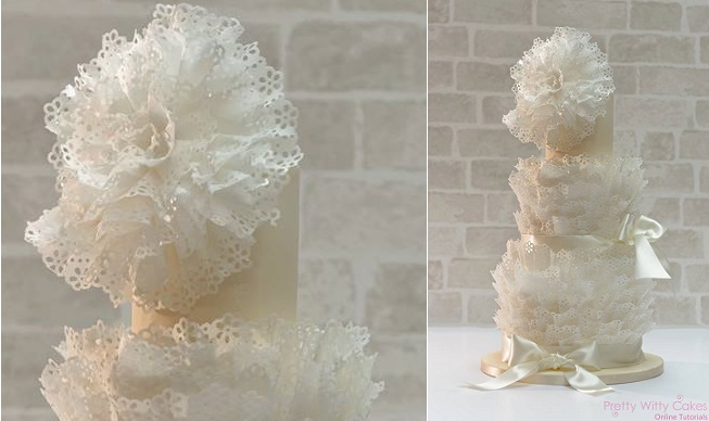 wafer paper ruffles wedding cake lace frills by Makiko Searle, image by Lee Shaughnessy