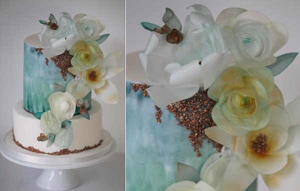 watercolour wedding cake with wafer paper flowers by Happy Hills Cakes