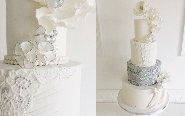 embellished lace wedding cake with silver sequins by Jenna Rae Cakes