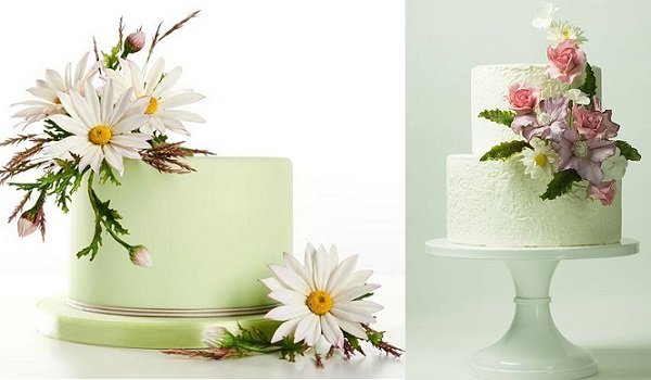 gumpaste wildflower tutorial by Alan Dunn left, clematis and chrysanths cake by Lina Veber right