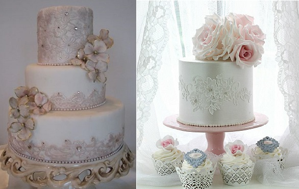 jewelled lace cakes by Cakes in Art left, Leslea Matsis right