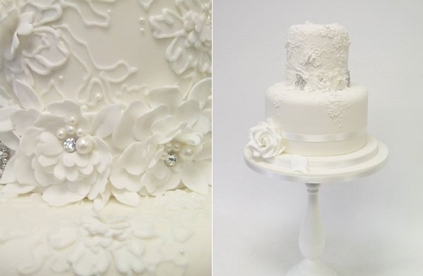 jewelled lace wedding cake by Emma Jayne Cake Design