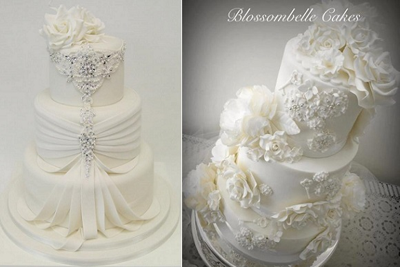 jewelled lace wedding cake by Emma Jayne Cake Designs left, Blossombelle Cakes right