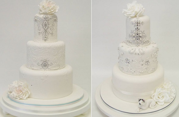 jewelled lace wedding cake by Emma Jayne Cake Designs